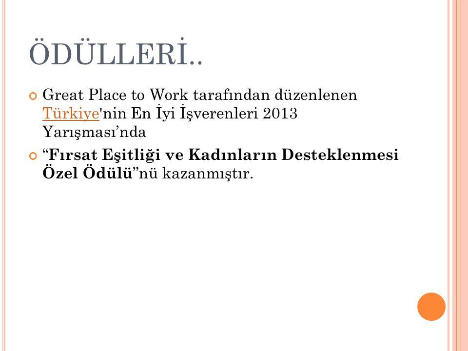 ÖDÜLLERİ.. Great Place to Work tarafından düzenlenen Türkiye nin En İyi İşverenleri 2013 Yarışması'nda.
