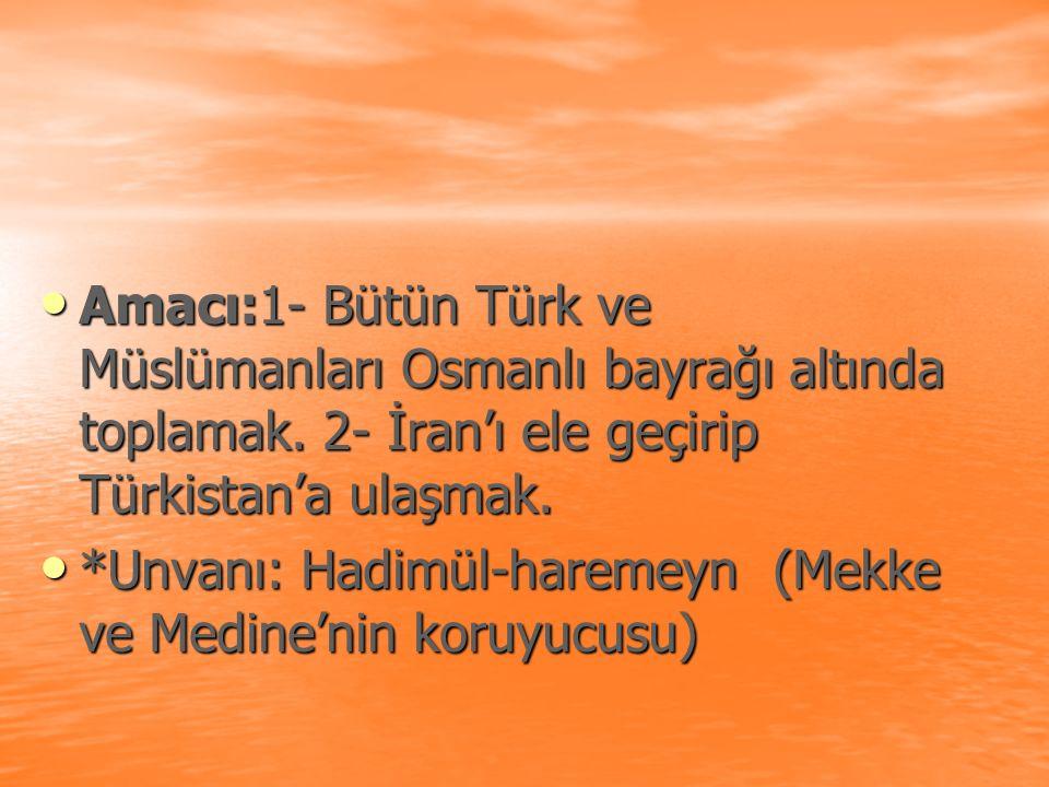 Amacı:1- Bütün Türk ve Müslümanları Osmanlı bayrağı altında toplamak