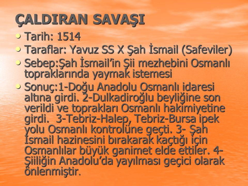 ÇALDIRAN SAVAŞI Tarih: 1514
