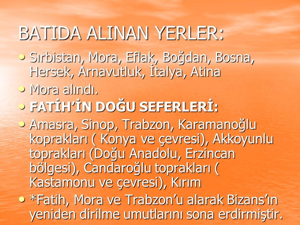 BATIDA ALINAN YERLER: Sırbistan, Mora, Eflak, Boğdan, Bosna, Hersek, Arnavutluk, İtalya, Atina. Mora alındı.