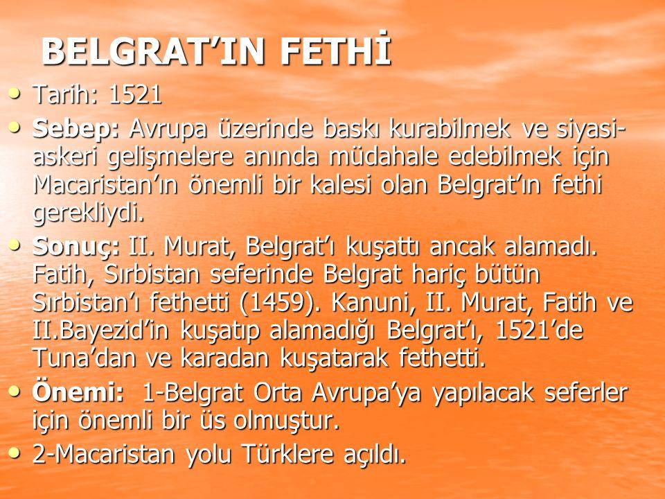 BELGRAT'IN FETHİ Tarih: 1521