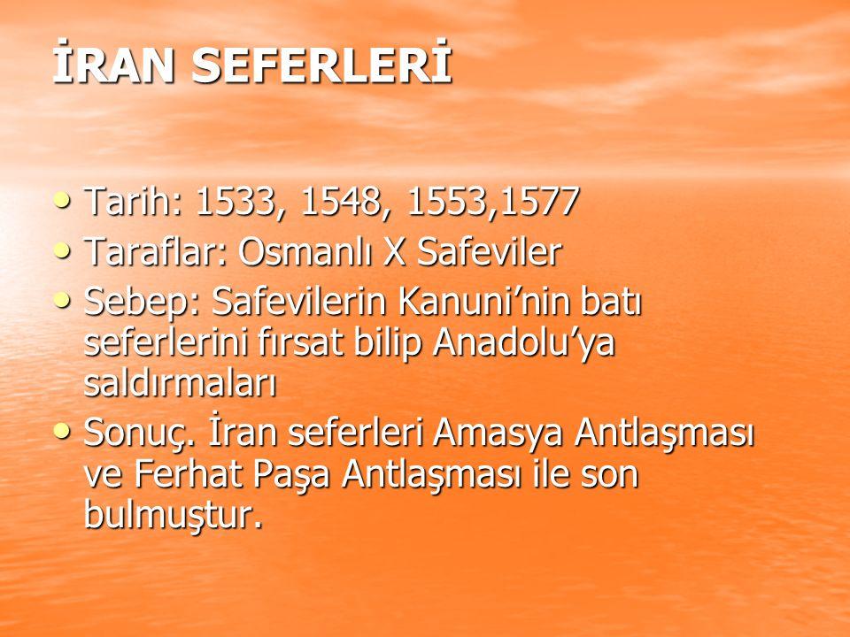 İRAN SEFERLERİ Tarih: 1533, 1548, 1553,1577. Taraflar: Osmanlı X Safeviler.