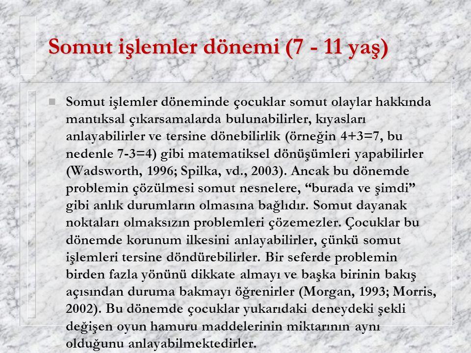 Somut işlemler dönemi (7 - 11 yaş)