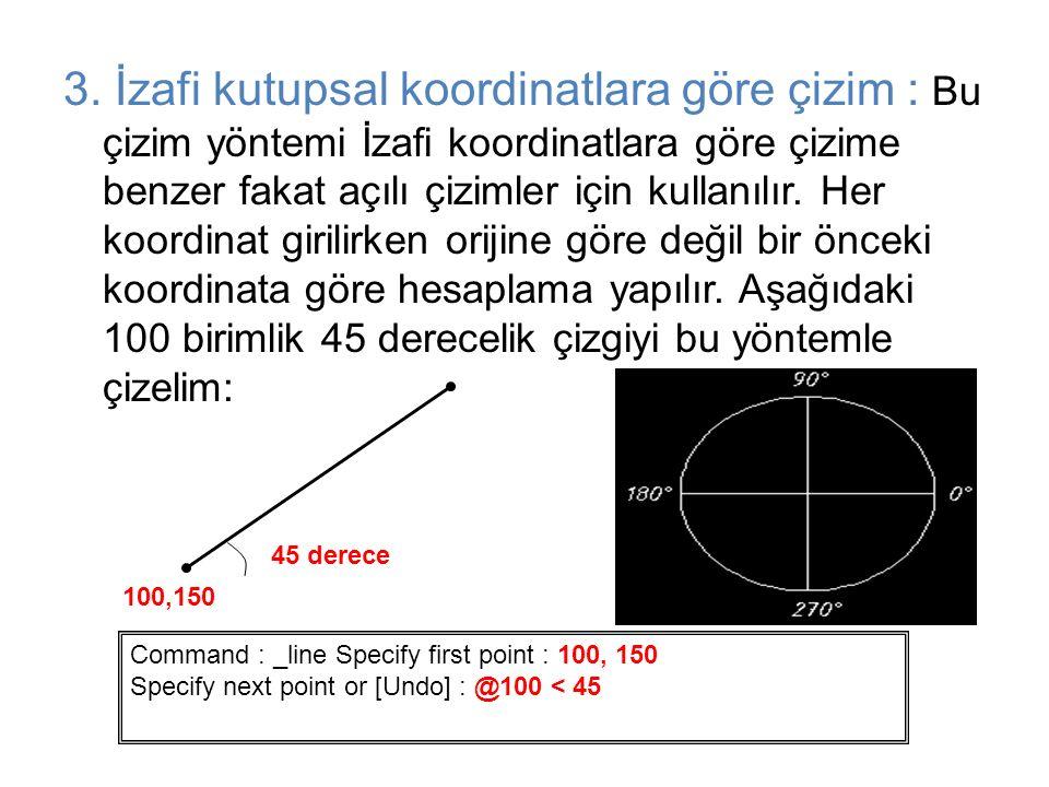 3. İzafi kutupsal koordinatlara göre çizim : Bu çizim yöntemi İzafi koordinatlara göre çizime benzer fakat açılı çizimler için kullanılır. Her koordinat girilirken orijine göre değil bir önceki koordinata göre hesaplama yapılır. Aşağıdaki 100 birimlik 45 derecelik çizgiyi bu yöntemle çizelim: