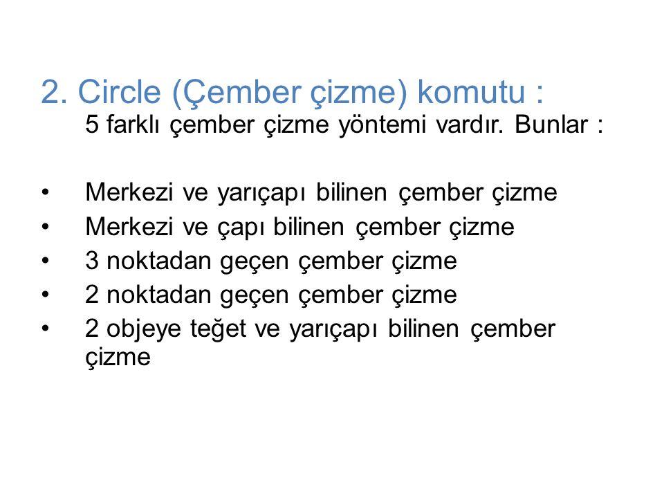 2. Circle (Çember çizme) komutu : 5 farklı çember çizme yöntemi vardır