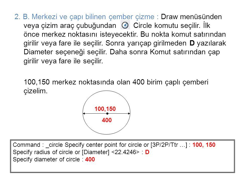 100,150 merkez noktasında olan 400 birim çaplı çemberi çizelim.
