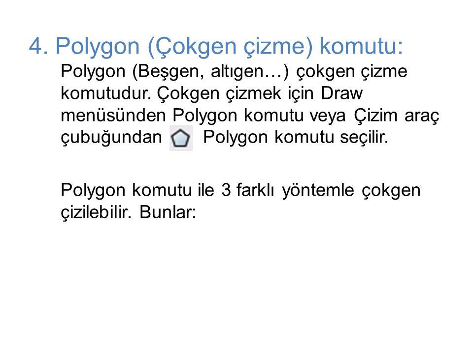 4. Polygon (Çokgen çizme) komutu: Polygon (Beşgen, altıgen…) çokgen çizme komutudur. Çokgen çizmek için Draw menüsünden Polygon komutu veya Çizim araç çubuğundan Polygon komutu seçilir.