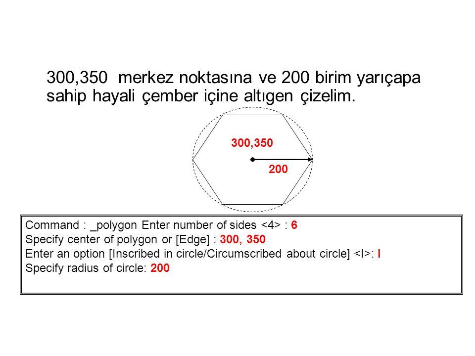 300,350 merkez noktasına ve 200 birim yarıçapa sahip hayali çember içine altıgen çizelim.