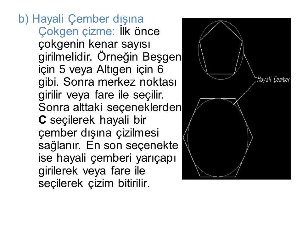 b) Hayali Çember dışına Çokgen çizme: İlk önce çokgenin kenar sayısı girilmelidir.