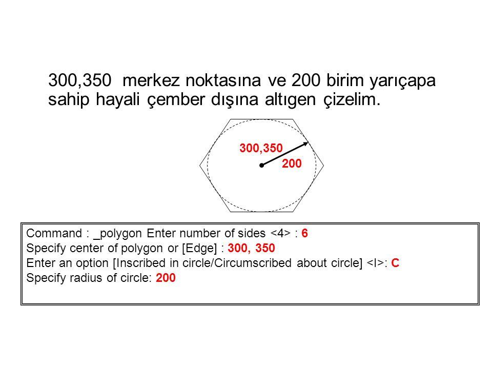 300,350 merkez noktasına ve 200 birim yarıçapa sahip hayali çember dışına altıgen çizelim.