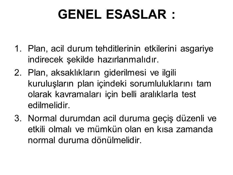 GENEL ESASLAR : Plan, acil durum tehditlerinin etkilerini asgariye indirecek şekilde hazırlanmalıdır.