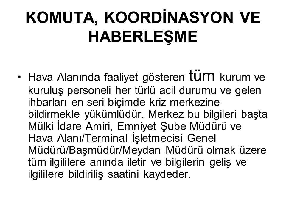 KOMUTA, KOORDİNASYON VE HABERLEŞME