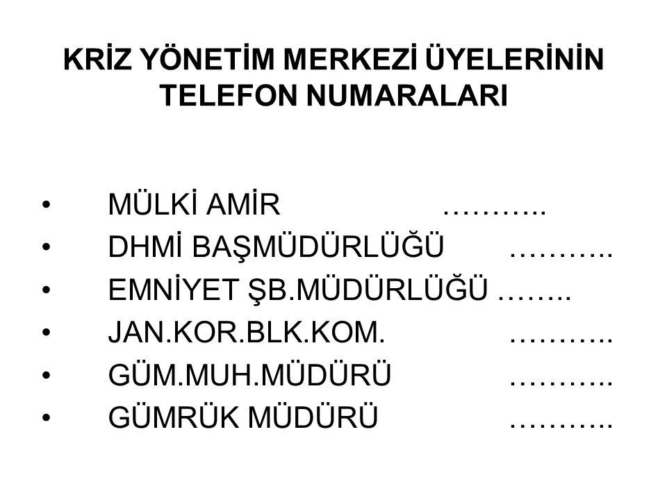 KRİZ YÖNETİM MERKEZİ ÜYELERİNİN TELEFON NUMARALARI