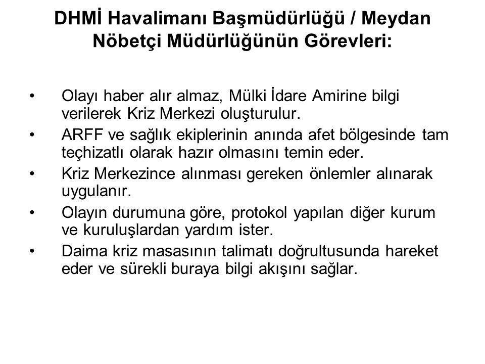 DHMİ Havalimanı Başmüdürlüğü / Meydan Nöbetçi Müdürlüğünün Görevleri: