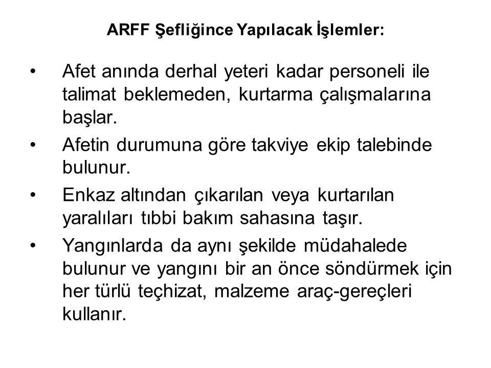 ARFF Şefliğince Yapılacak İşlemler: