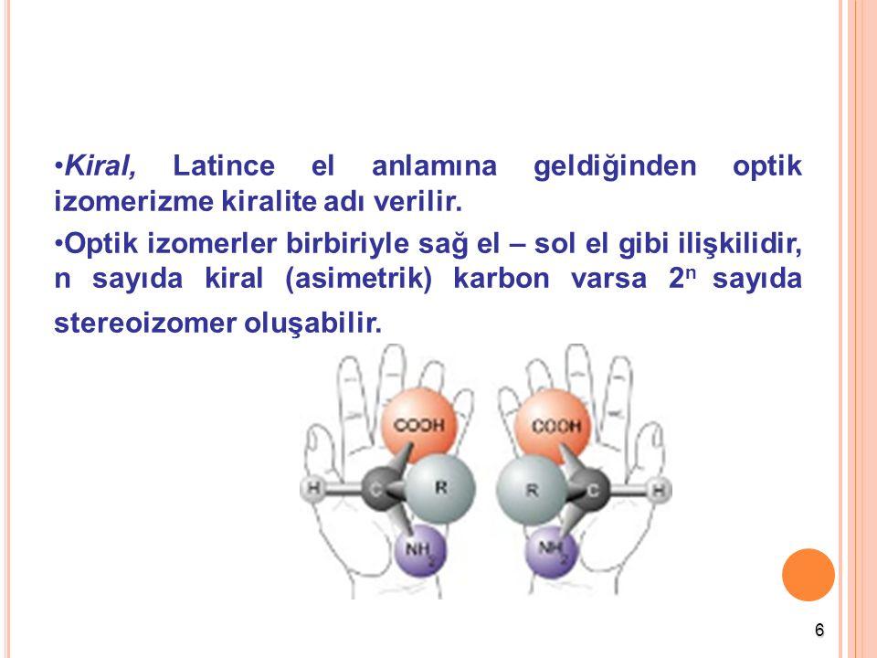 Kiral, Latince el anlamına geldiğinden optik izomerizme kiralite adı verilir.