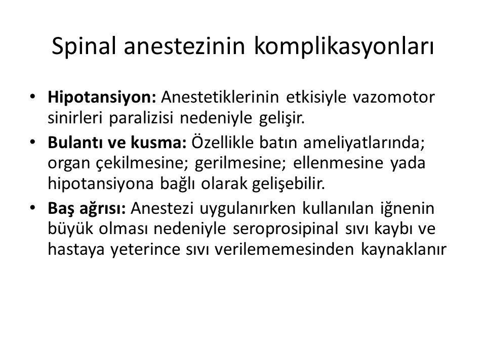 Spinal anestezinin komplikasyonları