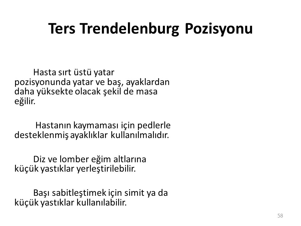 Ters Trendelenburg Pozisyonu