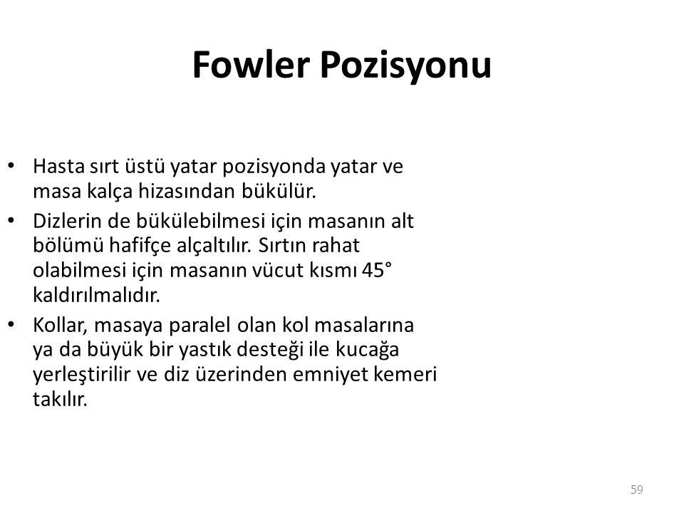 Fowler Pozisyonu Hasta sırt üstü yatar pozisyonda yatar ve masa kalça hizasından bükülür.