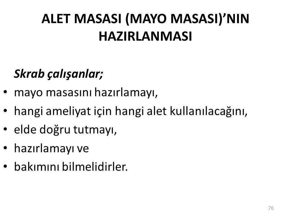 ALET MASASI (MAYO MASASI)'NIN HAZIRLANMASI