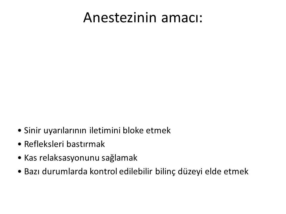 Anestezinin amacı: • Sinir uyarılarının iletimini bloke etmek