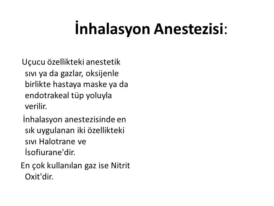 İnhalasyon Anestezisi: