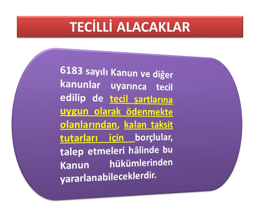 TECİLLİ ALACAKLAR