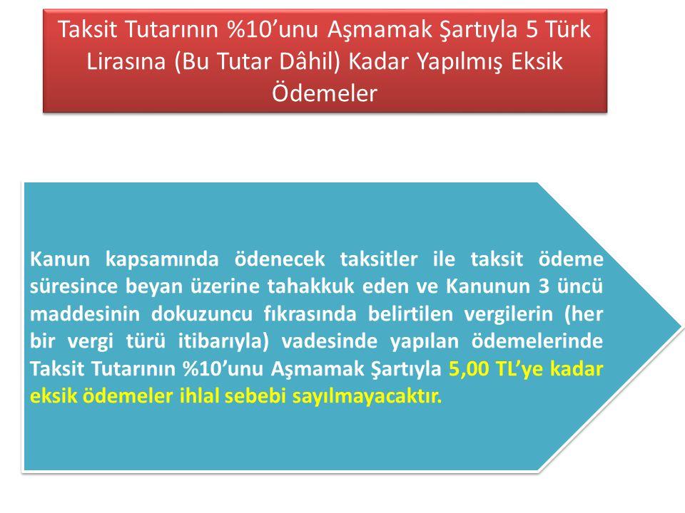 Taksit Tutarının %10'unu Aşmamak Şartıyla 5 Türk Lirasına (Bu Tutar Dâhil) Kadar Yapılmış Eksik Ödemeler
