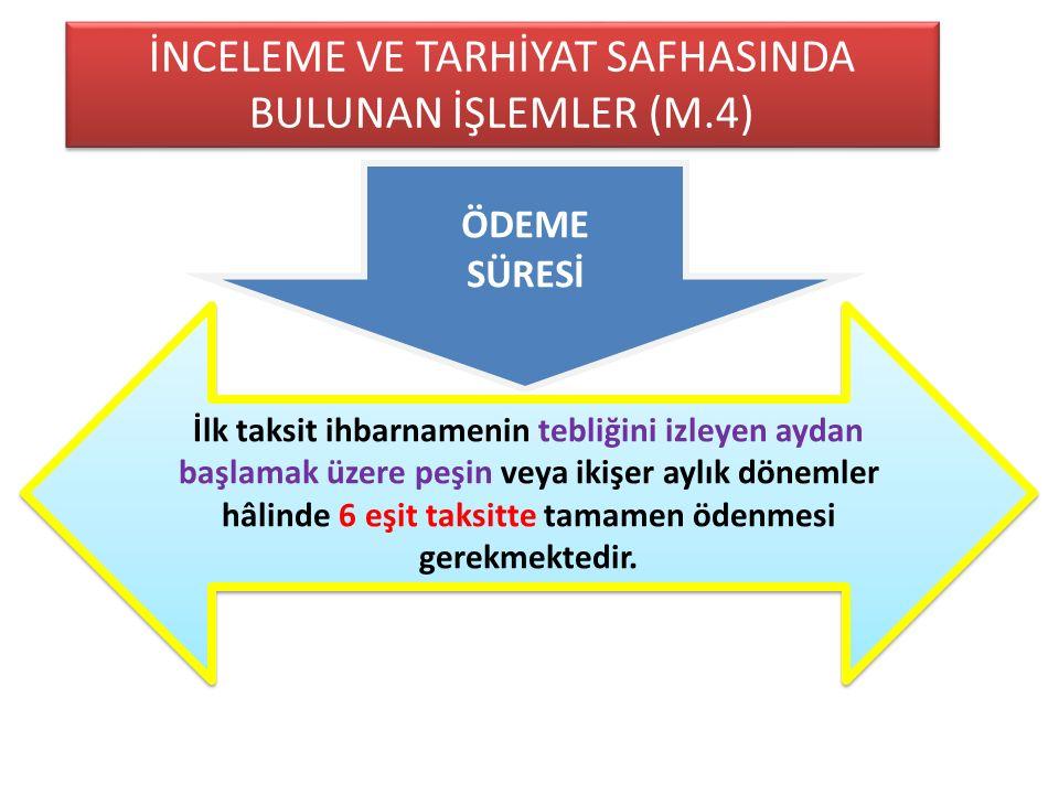 İNCELEME VE TARHİYAT SAFHASINDA BULUNAN İŞLEMLER (M.4)