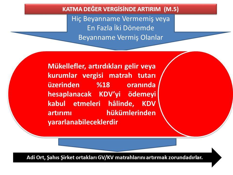 KATMA DEĞER VERGİSİNDE ARTIRIM (M.5)