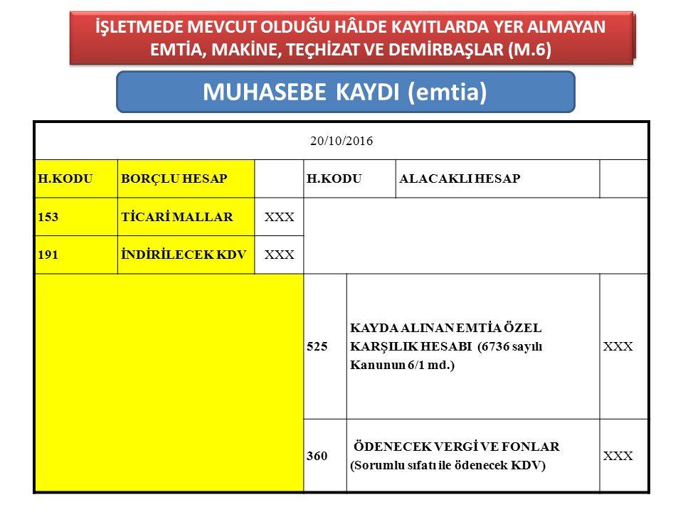 MUHASEBE KAYDI (emtia)