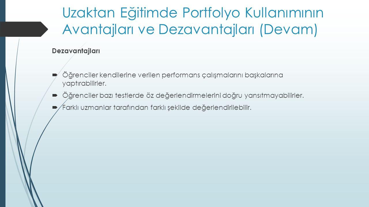 Uzaktan Eğitimde Portfolyo Kullanımının Avantajları ve Dezavantajları (Devam)