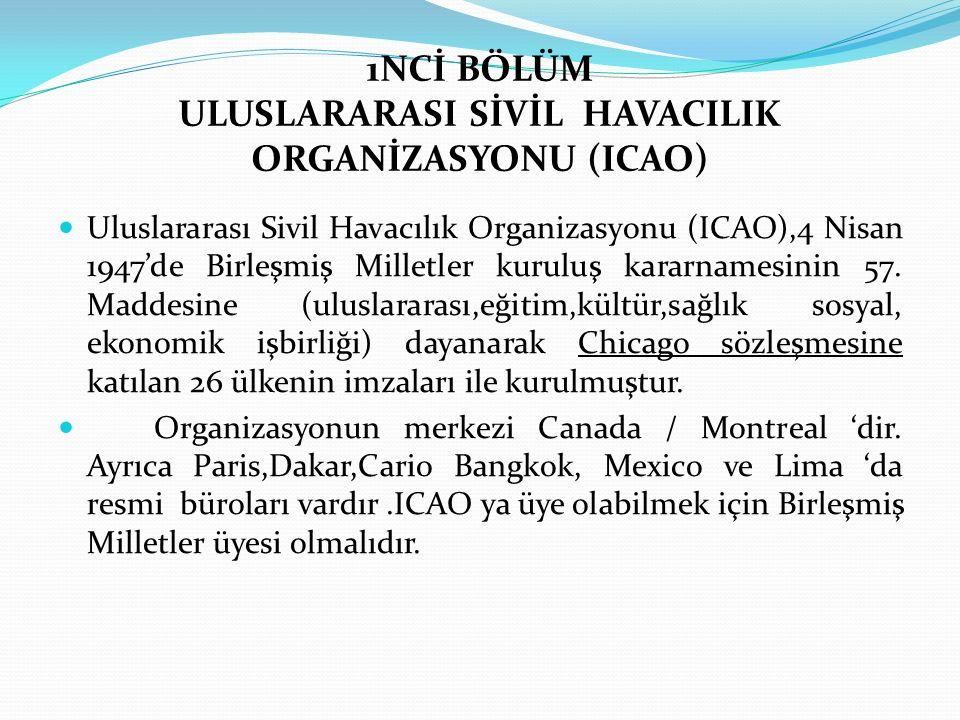 1NCİ BÖLÜM ULUSLARARASI SİVİL HAVACILIK ORGANİZASYONU (ICAO)