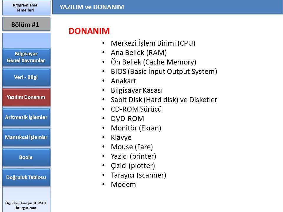 DONANIM Merkezi İşlem Birimi (CPU) Ana Bellek (RAM)