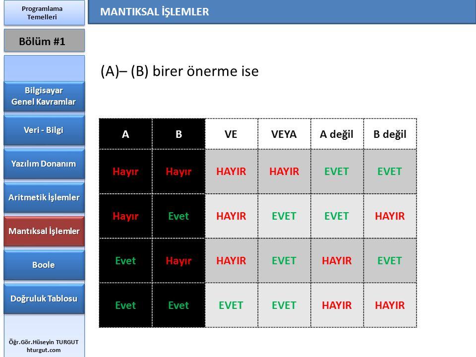 – (B) birer önerme ise Bölüm #1 MANTIKSAL İŞLEMLER A B VE VEYA A değil