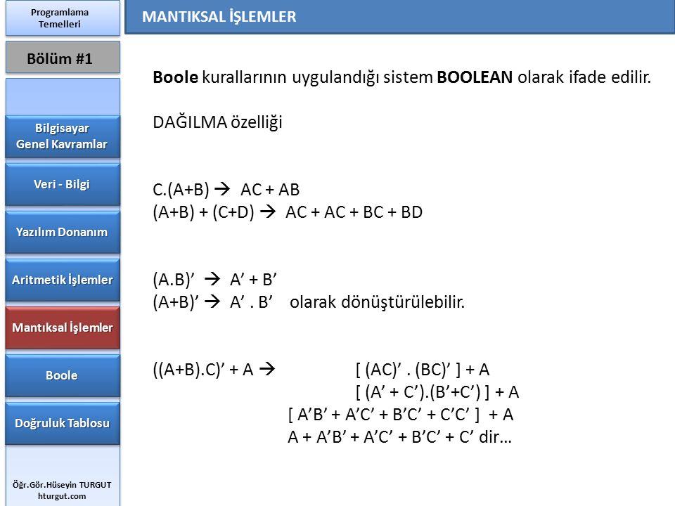 Boole kurallarının uygulandığı sistem BOOLEAN olarak ifade edilir.