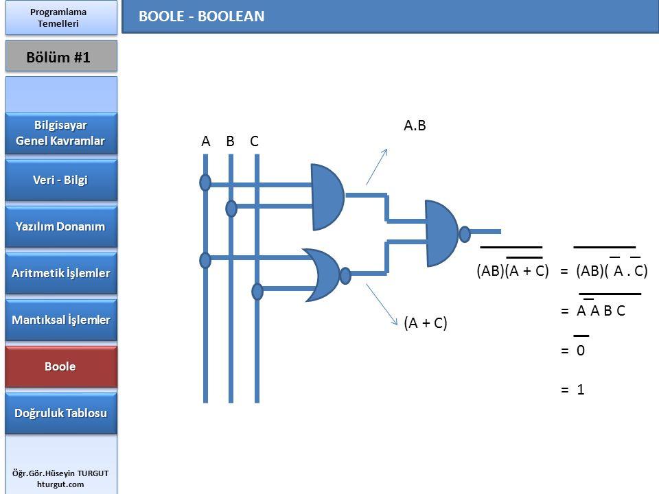 BOOLE - BOOLEAN Bölüm #1 A.B A B C (AB)(A + C) = (AB)( A . C)
