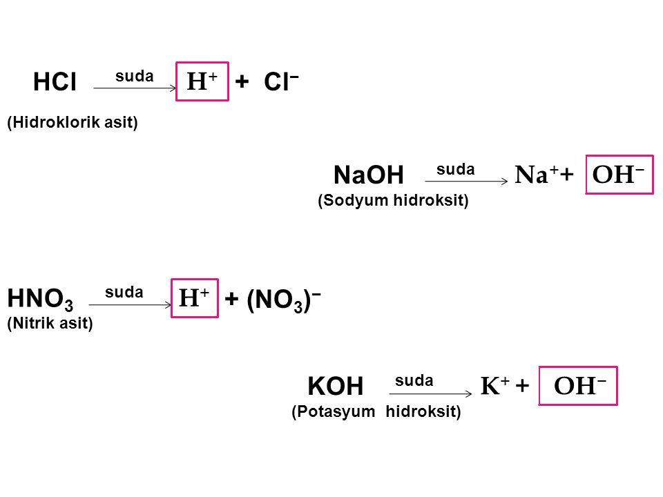 HCl H+ + Cl− NaOH Na++ OH− HNO3 H+ + (NO3)− KOH K+ + OH− suda