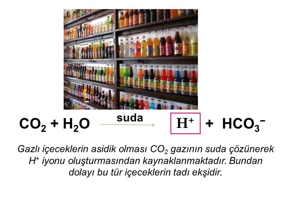 suda CO2 + H2O. H+ + HCO3−