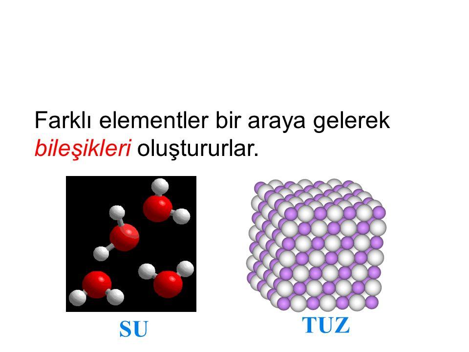 Farklı elementler bir araya gelerek bileşikleri oluştururlar.