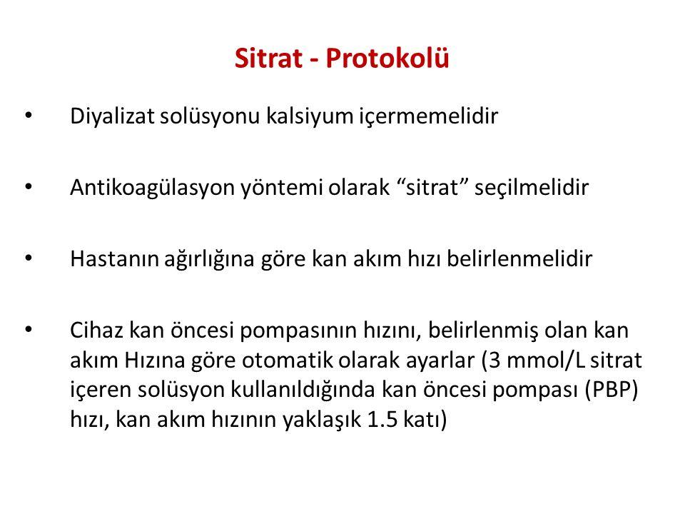 Sitrat - Protokolü Diyalizat solüsyonu kalsiyum içermemelidir