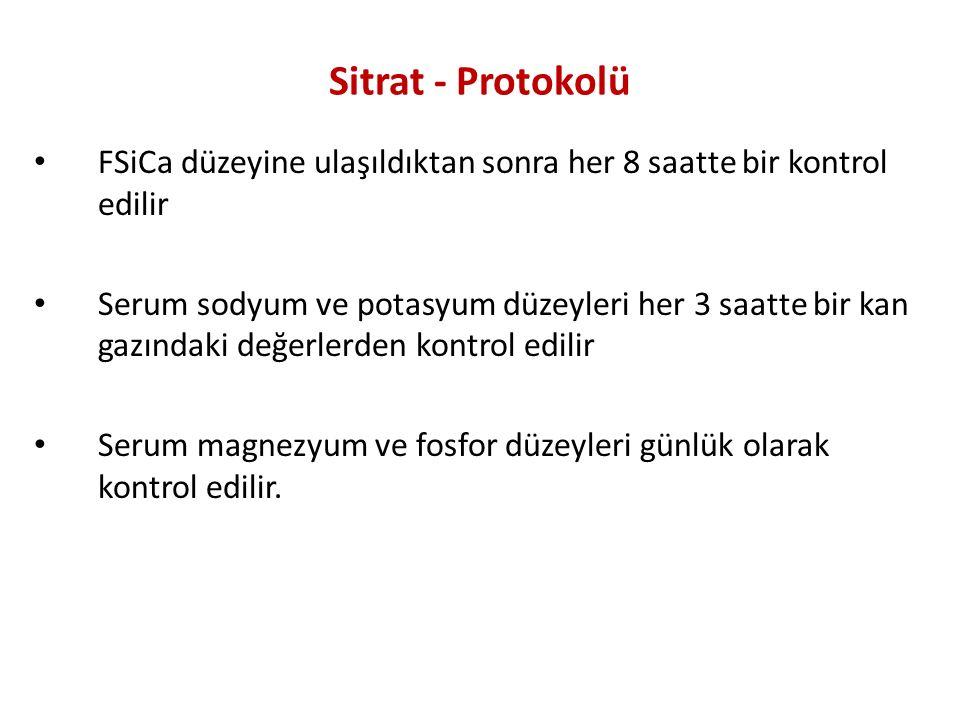 Sitrat - Protokolü FSiCa düzeyine ulaşıldıktan sonra her 8 saatte bir kontrol edilir.