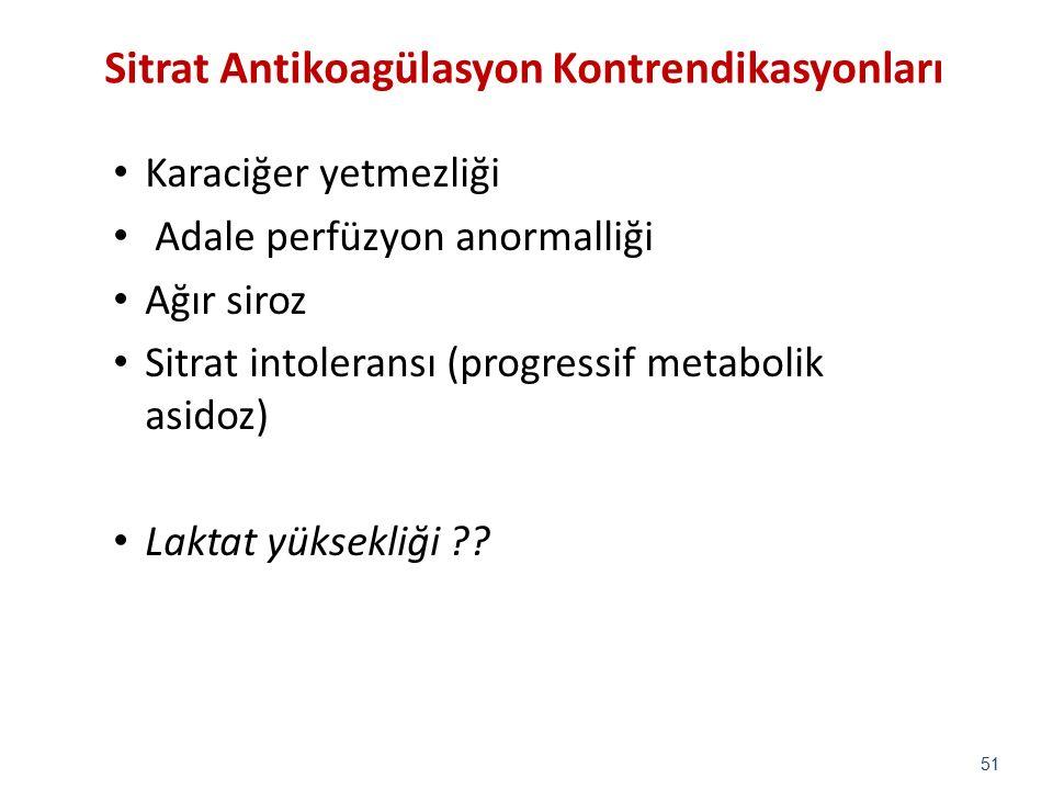 Sitrat Antikoagülasyon Kontrendikasyonları