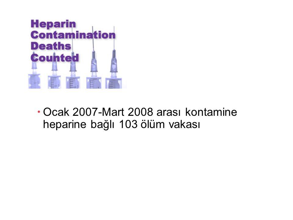 Ocak 2007-Mart 2008 arası kontamine heparine bağlı 103 ölüm vakası