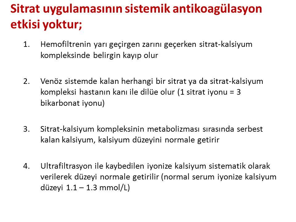 Sitrat uygulamasının sistemik antikoagülasyon etkisi yoktur;