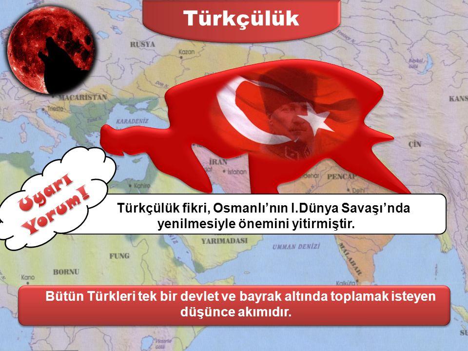 Türkçülük Uyarı Yorum! Türkçülük fikri, Osmanlı'nın I.Dünya Savaşı'nda yenilmesiyle önemini yitirmiştir.