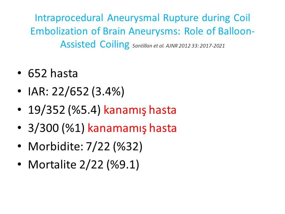 652 hasta IAR: 22/652 (3.4%) 19/352 (%5.4) kanamış hasta