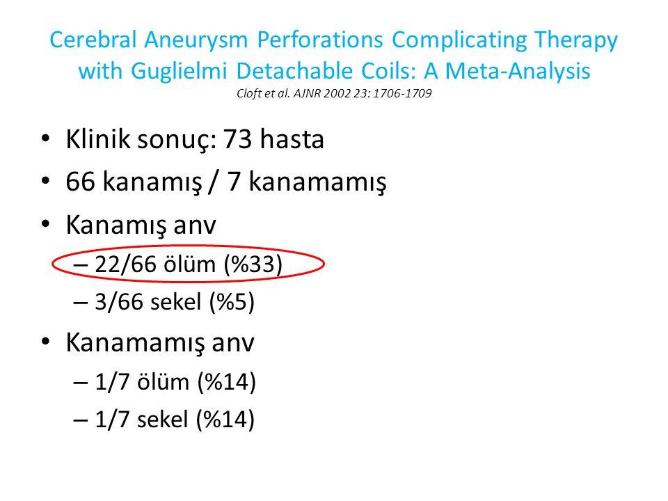 Klinik sonuç: 73 hasta 66 kanamış / 7 kanamamış Kanamış anv