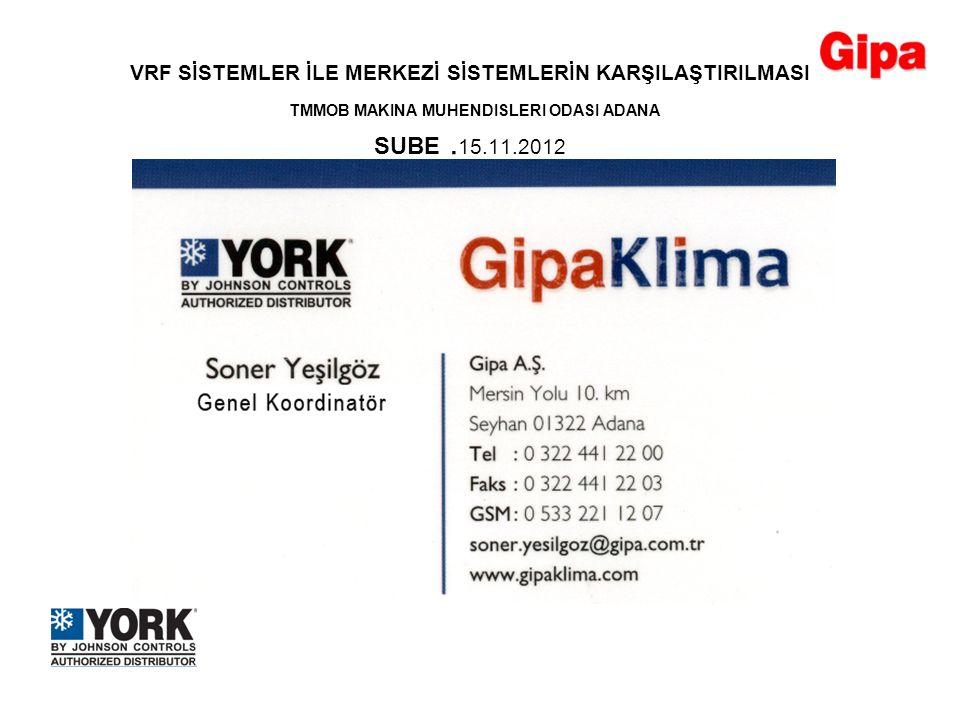 VRF SİSTEMLER İLE MERKEZİ SİSTEMLERİN KARŞILAŞTIRILMASI TMMOB MAKINA MUHENDISLERI ODASI ADANA SUBE .15.11.2012