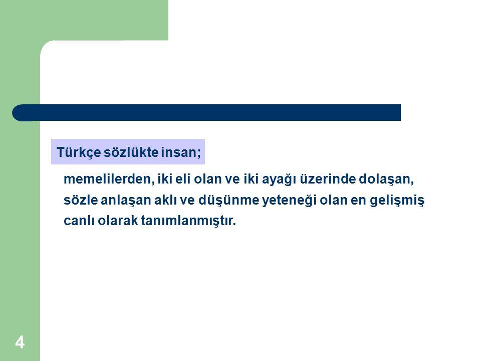 Türkçe sözlükte insan;